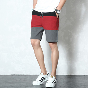 High Quality Summer Cotton Beach Shorts Youth Personality Contrast Color Stitching Five Pants Men Street Wind Outdoor Shorts XXL