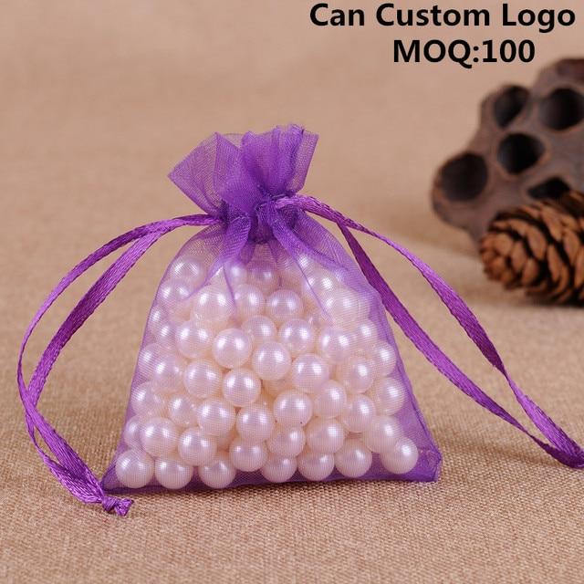 9x12cm 100pcs Lot Purple Fashion Organza Jewelry Gift Bags Small Drawstring Pouches Coffee Beans