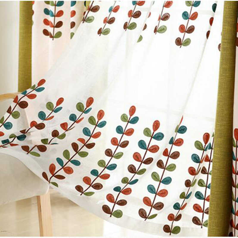 Pastoral White Cotton Line Embroidered Leaves Voile Sheer Curtains