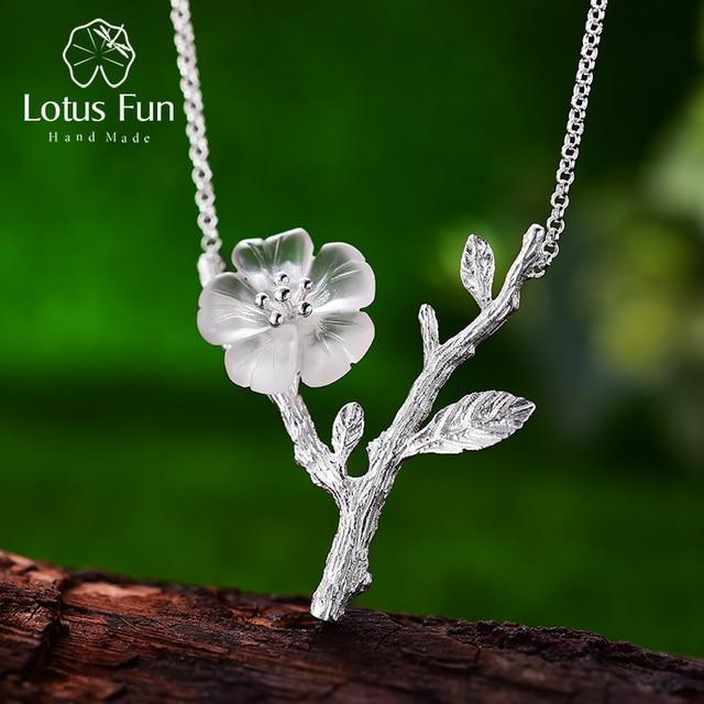 Collar con colgante de flor bajo la lluvia para mujer, joyería fina de diseño hecho a mano, Lotus Fun, Plata de Ley 925 auténtica