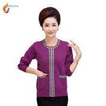 JQNZHNL Women Mid-aged Cardigans Outerwear 2017 New Winter Loose Casual Sweaters Women Plus Size 5XL Knitting Sweater Tops L468