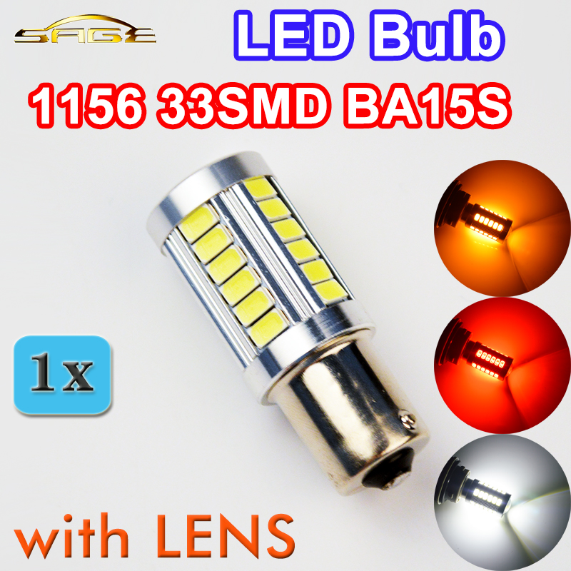 flytop 1 x 5630 33SMD 1156 LED Lamp with LENS BA15S White / Red / Yellow Color Super Bright Car Brake Light Auto Bulb 12V 4W 1pcs car led dc12v h8 fog lamp bright led light bulbs drl 33 5630 smd with lens xenon white ice blue yellow 2z9
