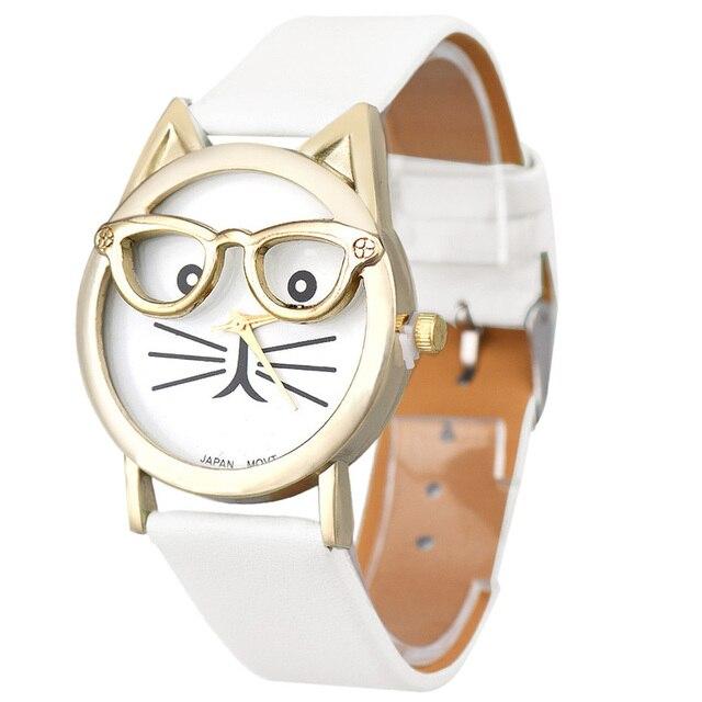 Montres femme Women Watches Cute Glasses Cat Women Analog Quartz Dial Wrist Watc