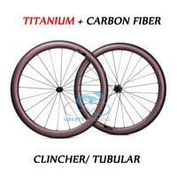 DEERACE TITANIUM Carbon Fiber 50mm 700c Road Bike Wheels Bicycle Wheelset Clincher or Tubular, 23mm v shape or 25mm u shape
