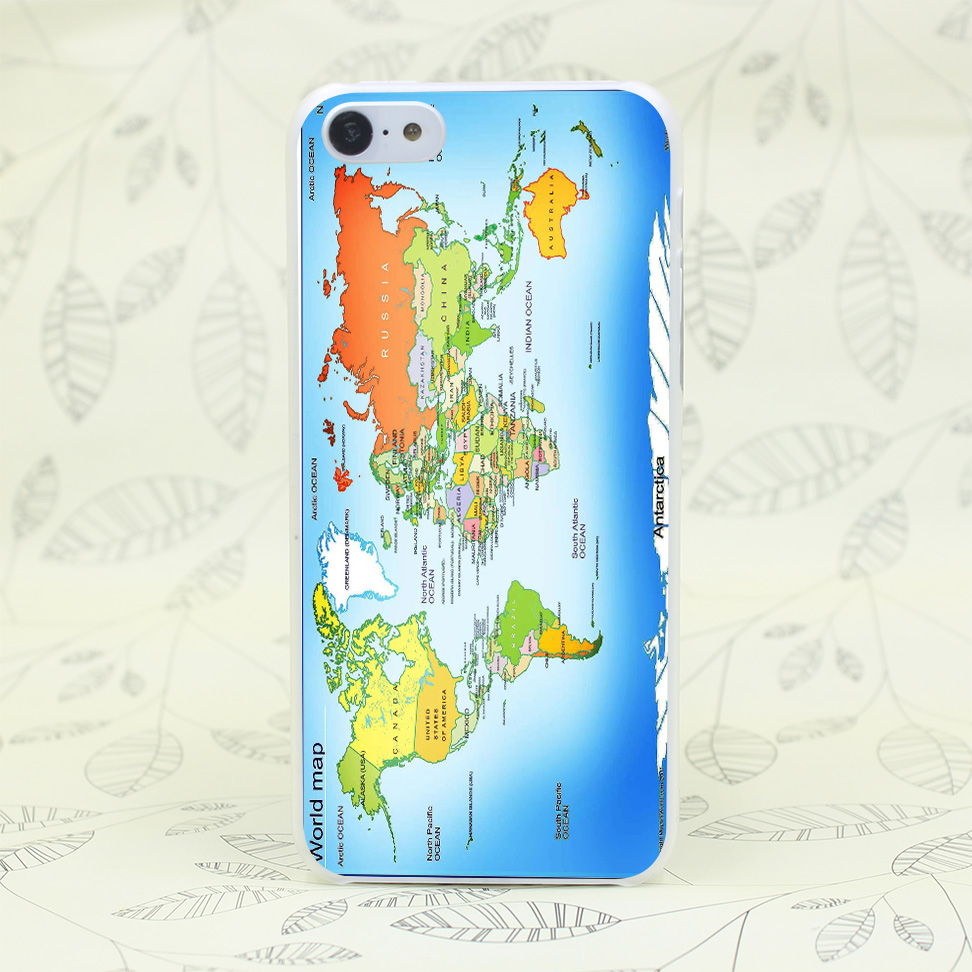 1091F World Map Bigger Size Hard Transparent Case Cover for iPhone 7 7 Plus 4 4s 5 5s 5c SE 6 6s Plus
