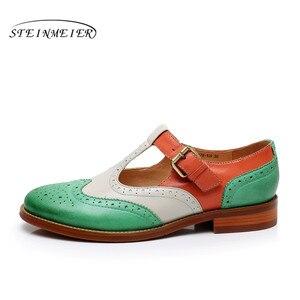 Image 3 - Yinzo zapatos planos de piel auténtica para mujer, zapatillas Oxford, informales, Vintage, para verano, 2020