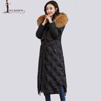 Winter Women Down Jacket 2018 Large size High quality Hooded Coat Mid Long Thicken Warm Jacket Women White Duck Down Coat DD0771