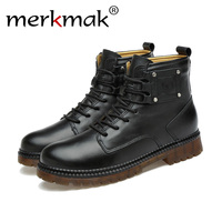 Merkmak New Handmade Men Genuine Leather Winter Boots High Quality Snow Men Boots Ankle Boots For Men Business Dress Shoes