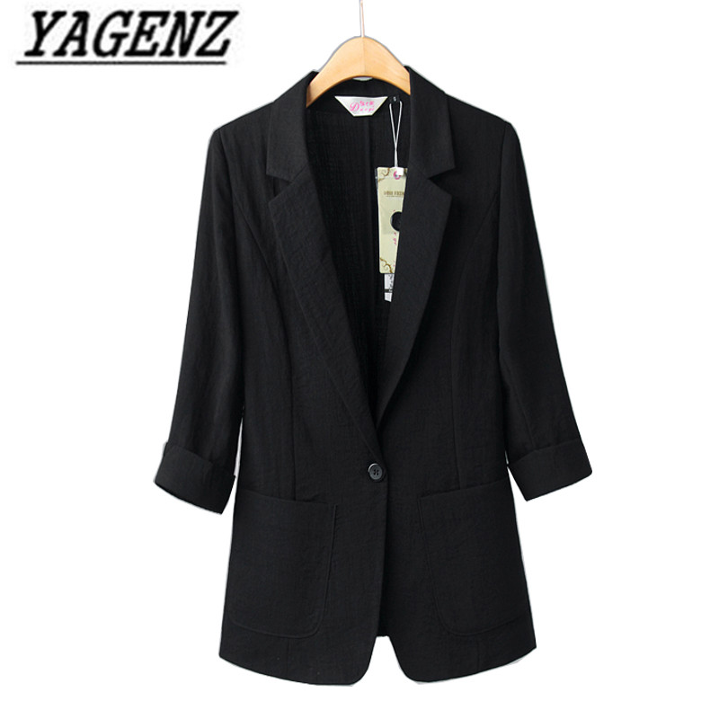 High quality Cotton linen Women Blazer Jacket Spring Autumn White Black Slim Single Button Casual Blazers Coat Solid Ladies Tops