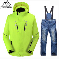SAENSHING Winter Ski Suit Men Snowboarding Suits Waterproof Super Warm Ski Jacket Snowboard Pants Breathable Winter