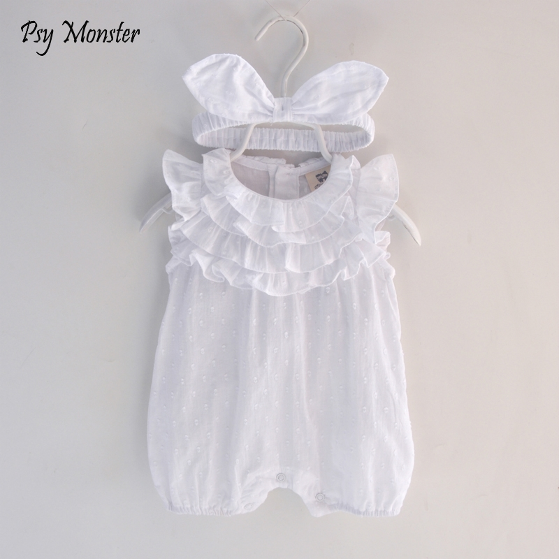 2018 Summer Baby Girl Romper Headband Lace cotton Jumpsuit Floral Baby Clothing Princess Toddler Romper Newborn Baby Clothes G82