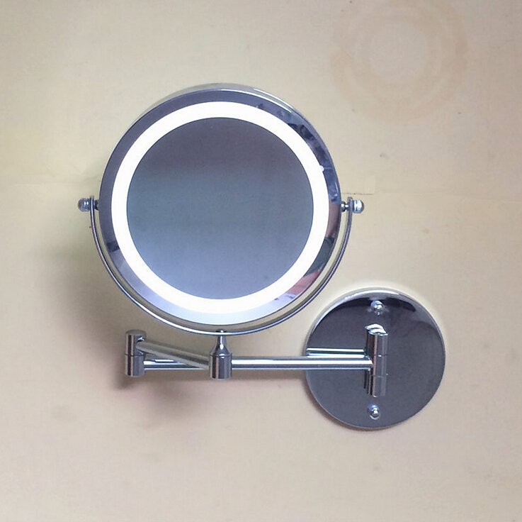 New Fashion 7 inches led bathroom mirror Dual Arm Extend 2-Face metal Makeup mirror 3X magnifying Wall Mounted Extending Folding