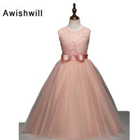 Newest Girl Dress Party Summer Style With Waistband Lace Top Tulle Ball Gown Dresses Sleeveles Kids
