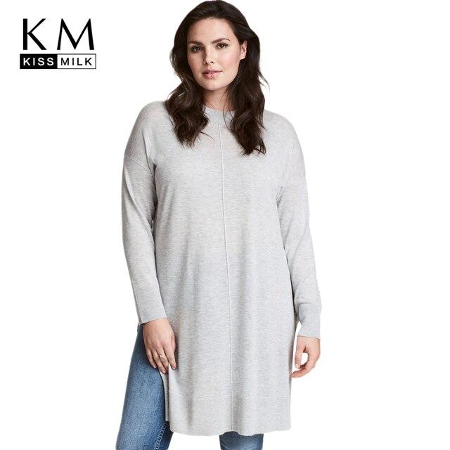 7879ddfa47 Kissmilk 2018 Plus Size Casual Women Solid Sweaters Large Size Long Sleeve O -neck Female Clothing Split Lady Big Size Pullovers