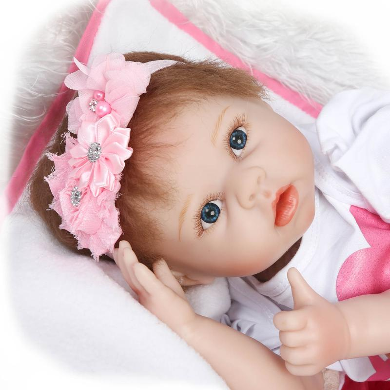 Cute 22Inch Soft Silicone Reborn Baby Dolls 55cm Vinyl Body Girl Brinquedos Dink Doll Lifelike Newbabies Play House Toys Bonecas 22inch reborn baby doll kits silicone vinyl head 3 4 arms and legs baby dolls lifelike doll accessories bonecas brinquedos