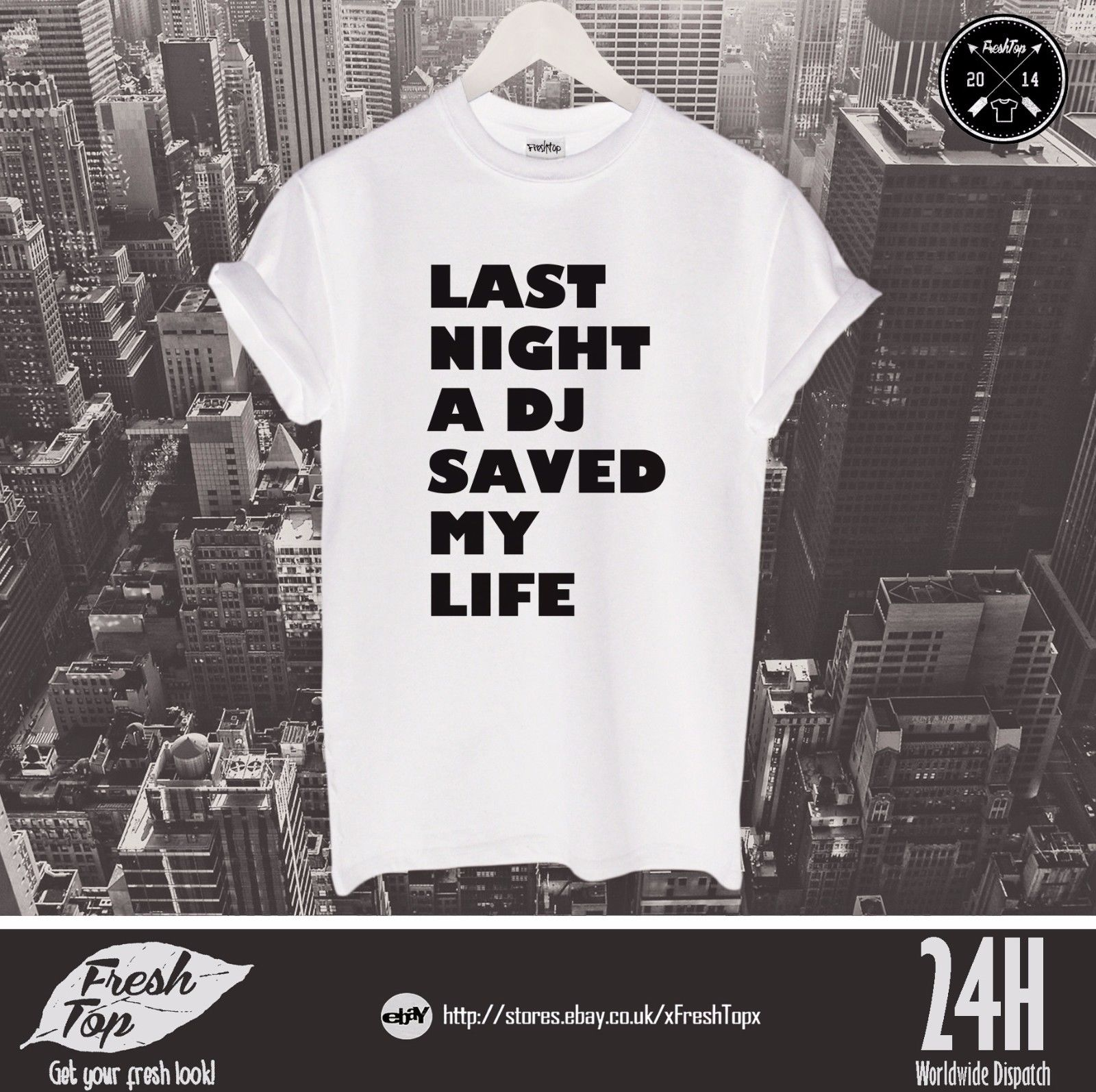 Last Night A DJ Saved My Life T Shirt Top Funny Club Party Clubbing Gift Present Harajuku Tops Fashion Classic Unique t-Shirt