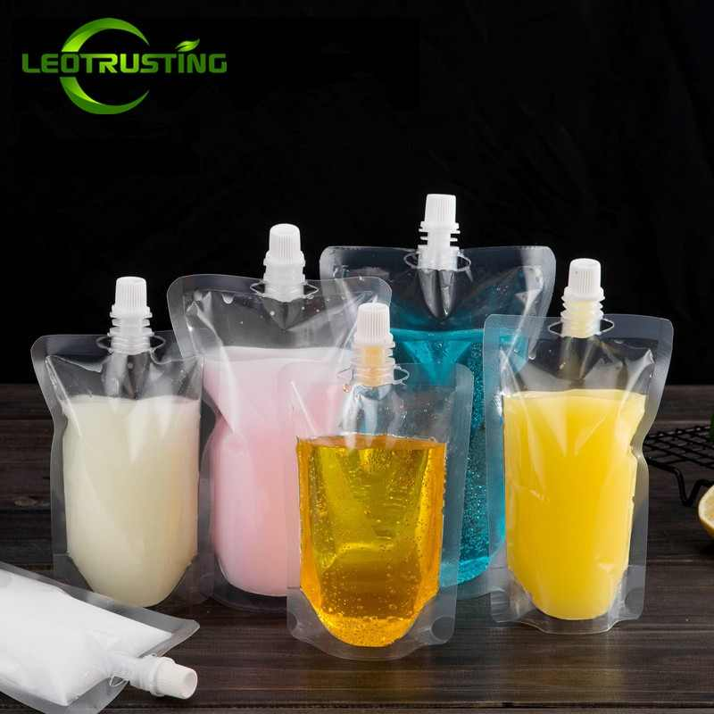 Leotrusting 100pcs Stand up Plastic Drink Packaging Bag Spout Pouch for Beverage Liquid Juice Milk Wedding Party Drinking Bags