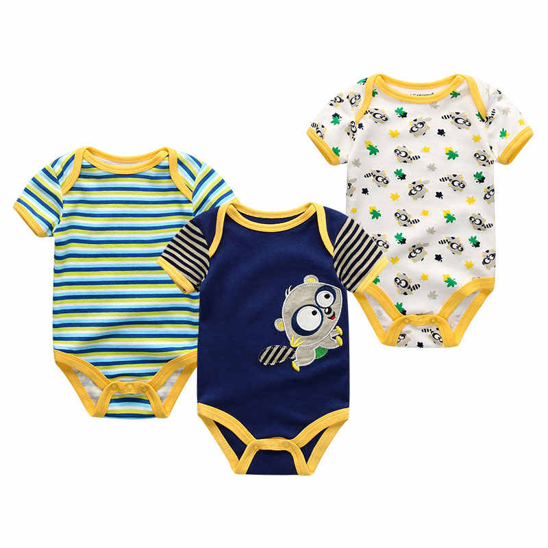 Baby Bodysuit Newborn Unisex Infant Jumpsuits Short Sleeve Baby Boy&Girl Clothes 3Pcs/set Toddler Costume ropa body bebe Pajamas
