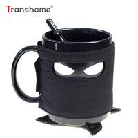 Transhome Creative Ninja Coffee Mug 350ml Coasters Stirring Spoon With Detachable Insulated Ceramic Mugs Birthday Gifts
