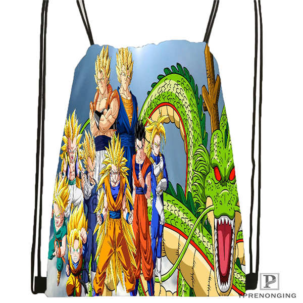 Custom Dragon-ball-z- Drawstring Backpack Bag Cute Daypack Kids Satchel (Black Back) 31x40cm#20180611-02-57