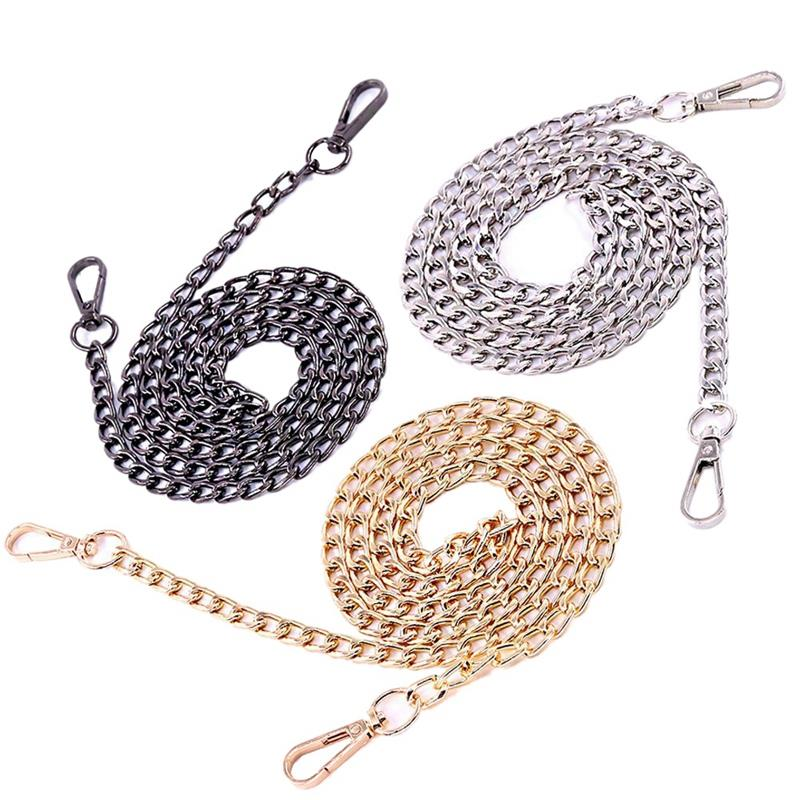 3Pcs Luxury Fashion 47 Inche Replacement Flat Chain Strap With Buckles Set Perfect For Diy Metal Shoulder Cross Body Bag Hand