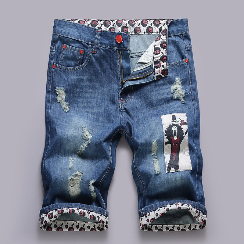 The New Europe Hole Five Pants Pants Men's Jeans Cloth Printing Personalised Mens Denim Shorts