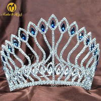 Handmade Queen Large Crystal Bridal Crowns and Tiaras Copper Full Diadem Bride Wedding Hair Accessory for Women Green/Blue TC065