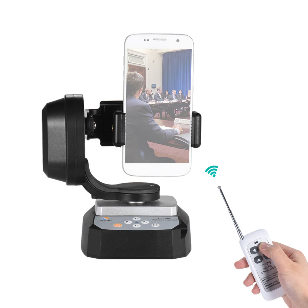 Remote Control Motorized Pan Tilt Head Rotating Stabilizer for Camera Phone zifon yt 500 remote control pan tilt auto motorized rotating video tripod head stabilizer for smartphone