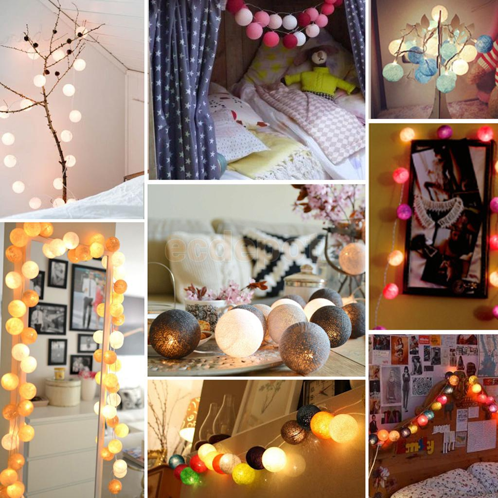 1.2m Cotton Ball Fairy LED String Lights Party Patio Christmas Decor Wall  DIY(China