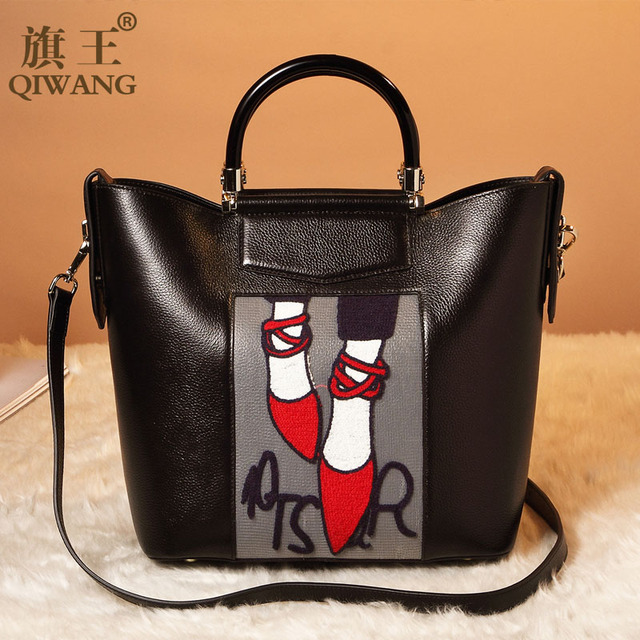 Qiwang Embroidery Handbag Woman Luxury Fashion Shoes Bag Real Leather Tote Bag Paris Brand Designer Handbag France Fashion Bag
