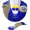 Бренд Laanc 18 дюймов Индийский Свадебные Ювелирные Наборы Кристалл Королевский Синий и Желтый Африканские Бусы Дубай AL181