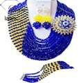 Marca Laanc 18 pulgadas Indio Joyería Nupcial de La Boda Establece Crystal Royal Blue and Yellow Beads Africanos Dubai AL181