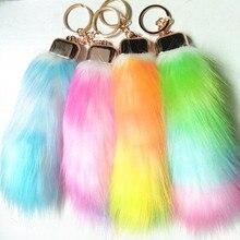 12pcs/lot Rainbow Color Fur Tails keychains Faux Fox Pompon Car key ring Women bag charms fox fur tail Off White Key Chains