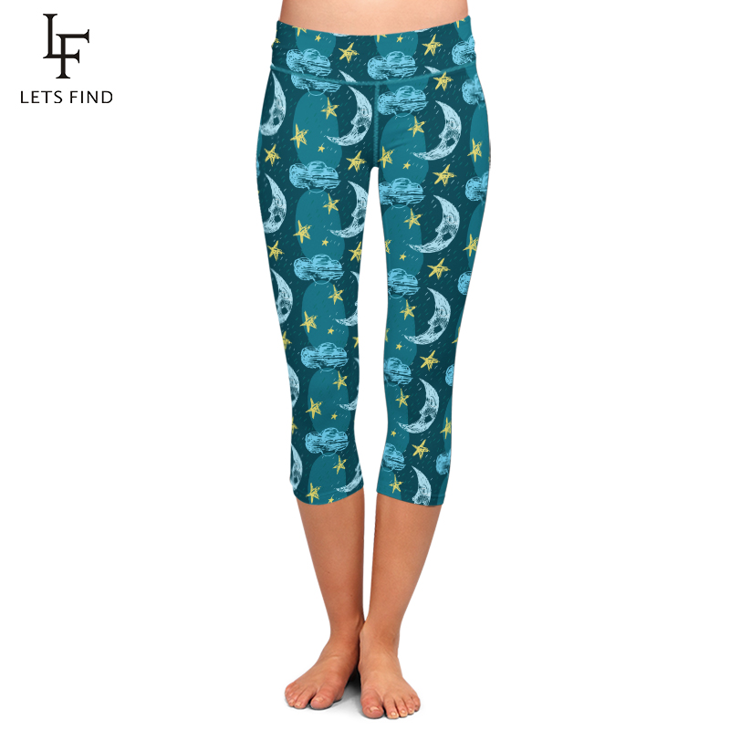 LETSFIND Summer High Elastic Capri Leggings Stars and Moon Print High Waist Plus Size Mid-Calf 3/4 Stretch Casual Leggings