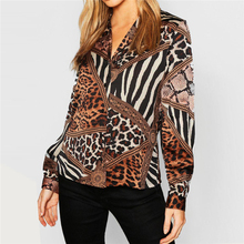 2019 Women Blouses Summer Chiffon Leopard Blouse Long Sleeve Sexy V-neck Lady Office Shirt Loose Tops Plus Size Blusas Chemisier цена