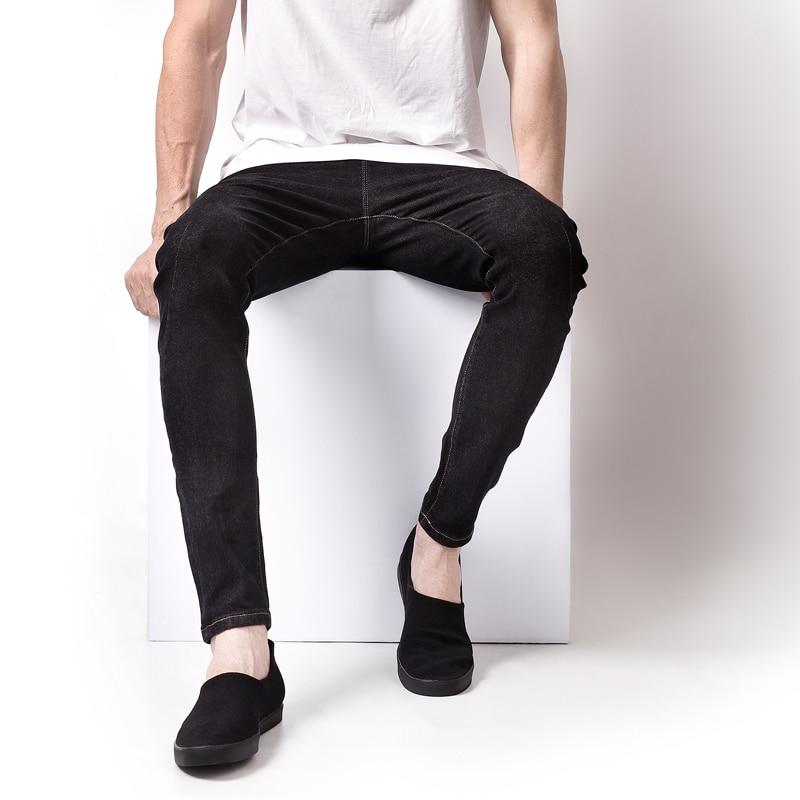 Balplein Brand Fashion Black Jeans Men High Grade Drawstring Slim Fit Simple Designer Men`s Stretch Jeans Masculino Pants A3162 new slim men s men s micro horn jeans korean tide slim stretch small trim men s black jeans size26 27 28 29 30 31 32 33 34