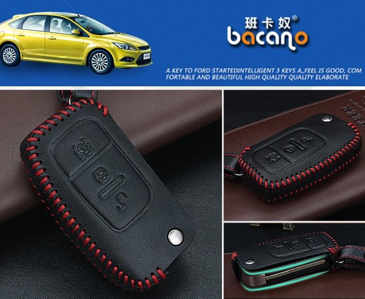 Prawdziwej Skóry Samochodu inteligentny / składany Klucz Case Fob - Akcesoria do wnętrza samochodu - Zdjęcie 3