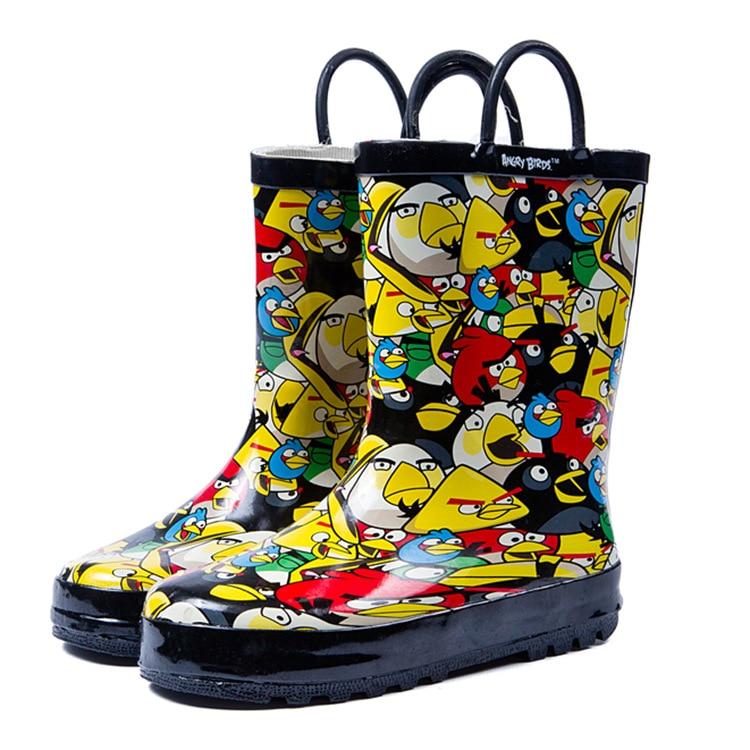 New girl rain boots 2018 toddler boys cute bird pattern design boots children boy waterproof shoes kids rubber rainboots A84 cute branch bird pattern removeable toilet wall sticker