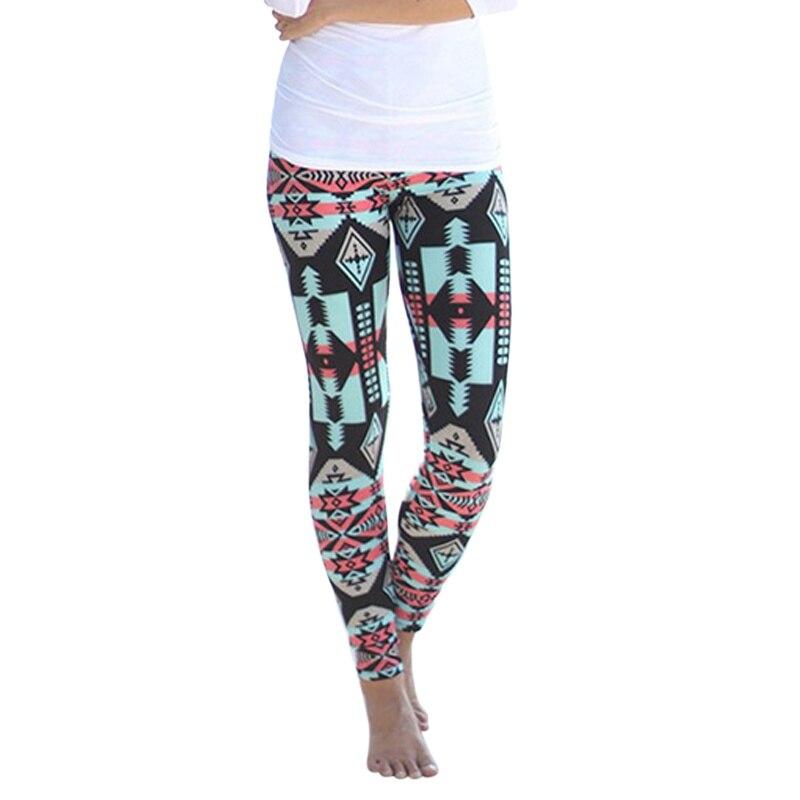 Multi-Color Long Soft Pants Vintage Fashion Women Plus Size Tribal Aztec Print Leggings