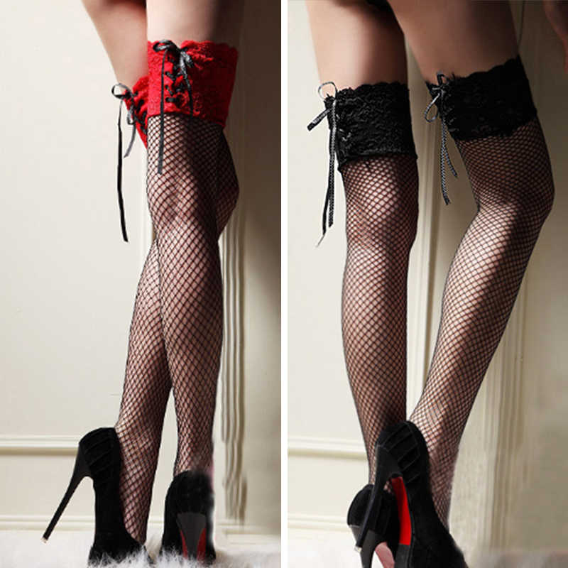 4cba4562fef9b Sexy Stockings Women Thigh High Sheer Lace Fishnet Stockings Hosiery Ladies  Red Black White Hollow Out