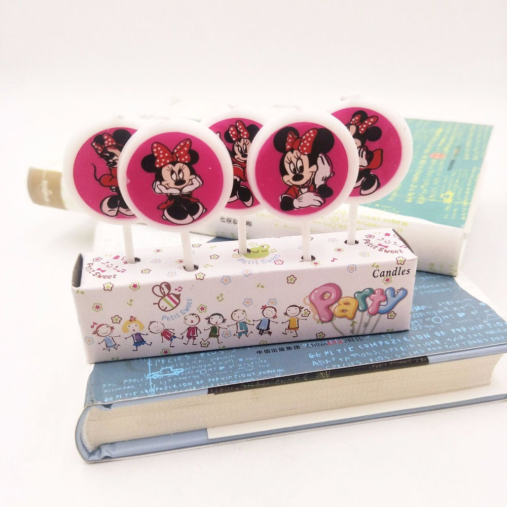 5pcs Lot Minnie Mouse Party Supplies Kids Birthday Candles Evening