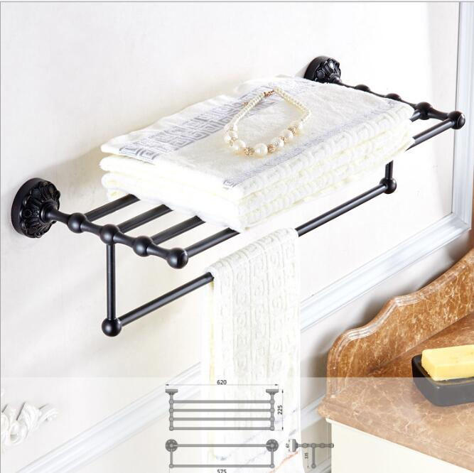 New Towel Rack Luxury Bathroom Accessories Antique black Oil brushed Fixed Bath Towel Holder Shelves Towel Bar Bath Towel hanger bathroom thickened antique bath towel frame wall hanging rack full copper bathroom accessories set fixed towel rack