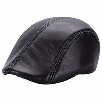 New Trendy Autumn Winter Leather Berets Caps For Men Casual Solid Peaked Cap Visor Flat Hat