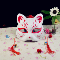 10 Lot Painted Fox Mask Japanese Natsume's Book of Friends Fox Half Face Mask Halloween Cosplay Animal Masks Party Cat Mask Hot