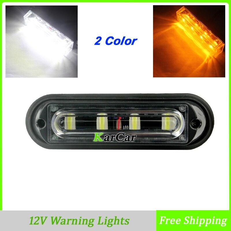High Bright 4W 4 LED Warning Lights Truck Auto Car Daytime Running Lights, 12V Turn Signals Lamp Strobe Light White/Amber