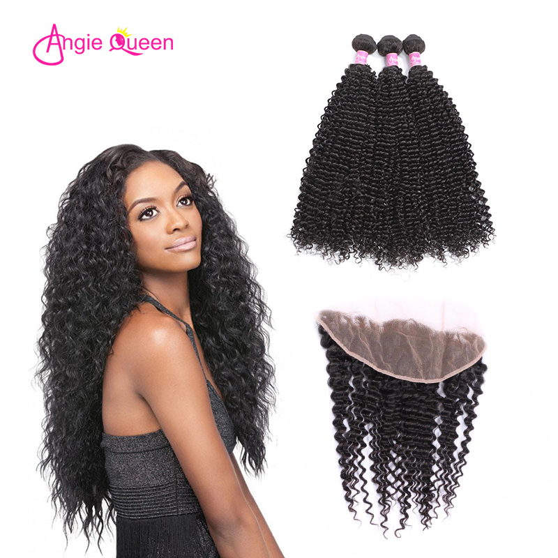 ANGIE QUEEN Brazilian hair kinky curly human hair bundles with closure remy hair lace frontal with 3/4 bundles 13*4 virgin hair