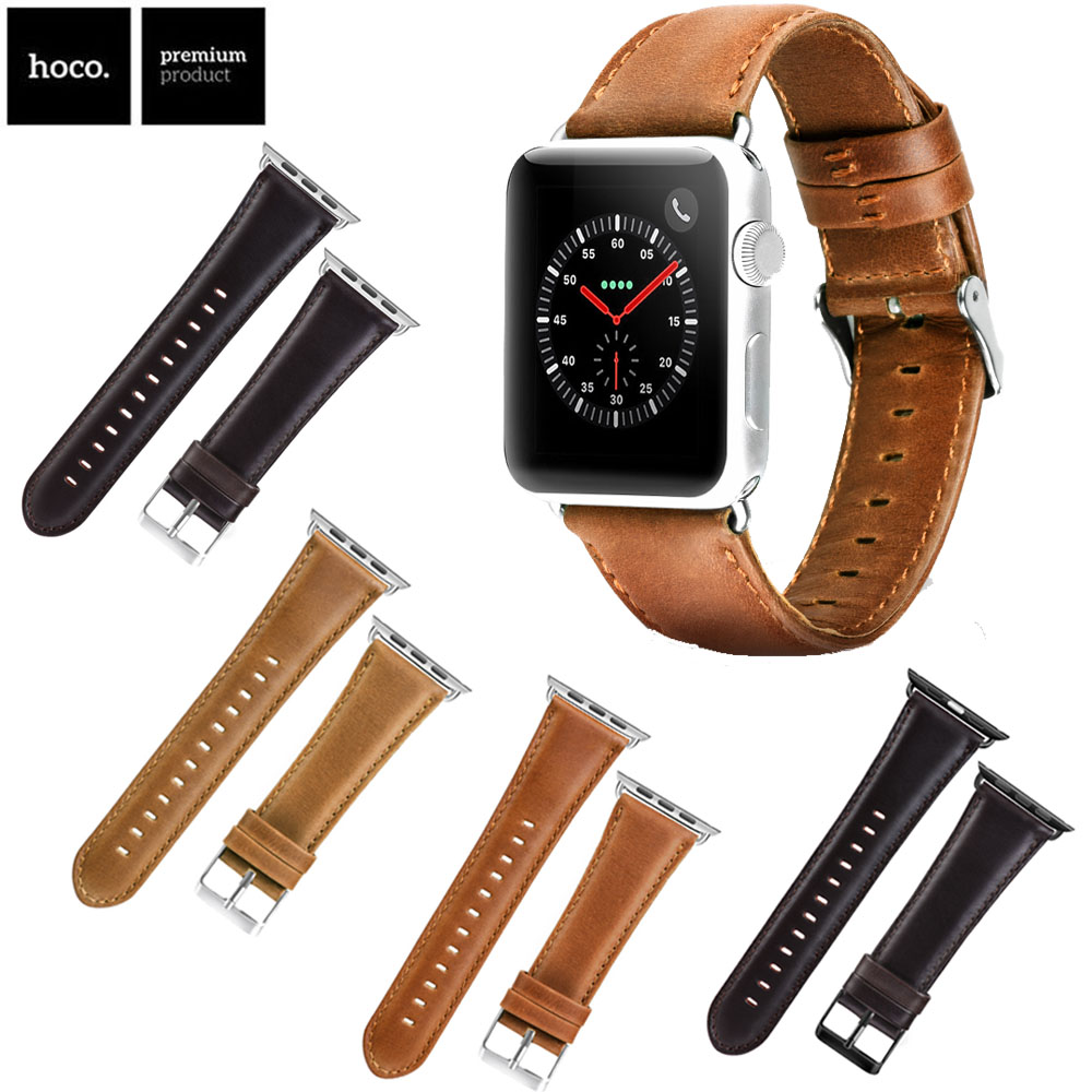 2018 New Genuine Leather Band For Apple Watch 3 2 1 42MM 38MM First Layer Cattle Leather Strap Brown Coffee Color Bracelet survival nylon bracelet brown