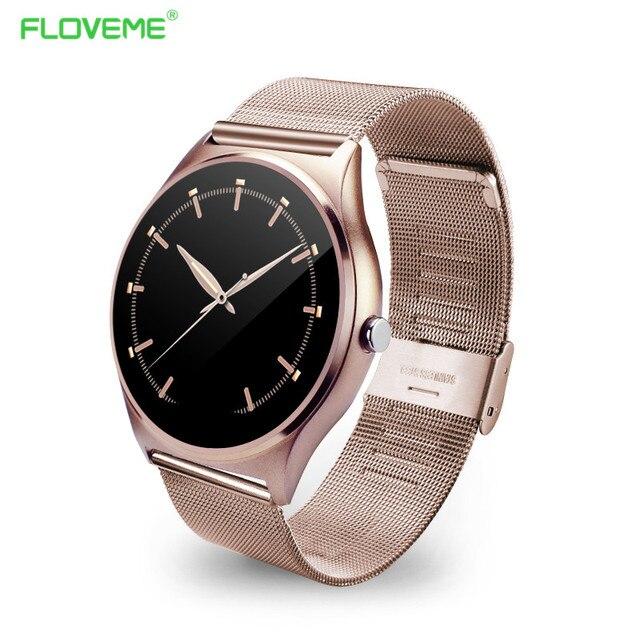 6946a188eec94 FLOVEME K7 Bluetooth Inteligente Reloj Hombre Mujer Reloj Completa de Acero  Inoxidable Reloj de Pulsera