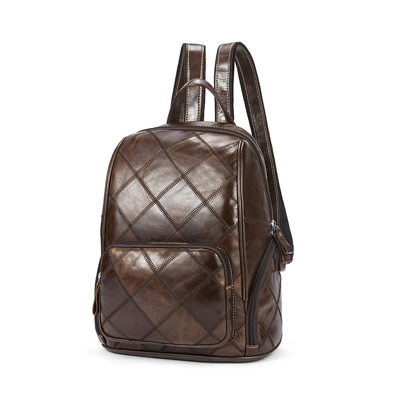 Retro Ladies backpack Zipper Leather Cowhide Backpack Handmade Sewing Rhombus Checkered Backpack For Women