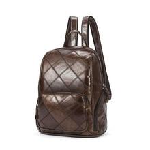 Ретро дамы рюкзак на молнии воловьей кожи рюкзак ручной работы ромб клетчатый рюкзак для женщин